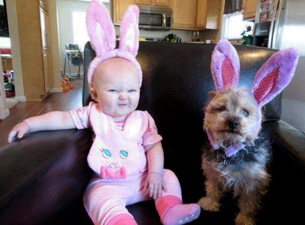 Baby and Puppy with Rabbit Ears